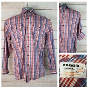Vintage Wrangler Red Blue Plaid Button-Down Shirt